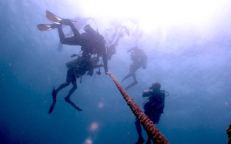 潜行&安全停止はロープ沿いで